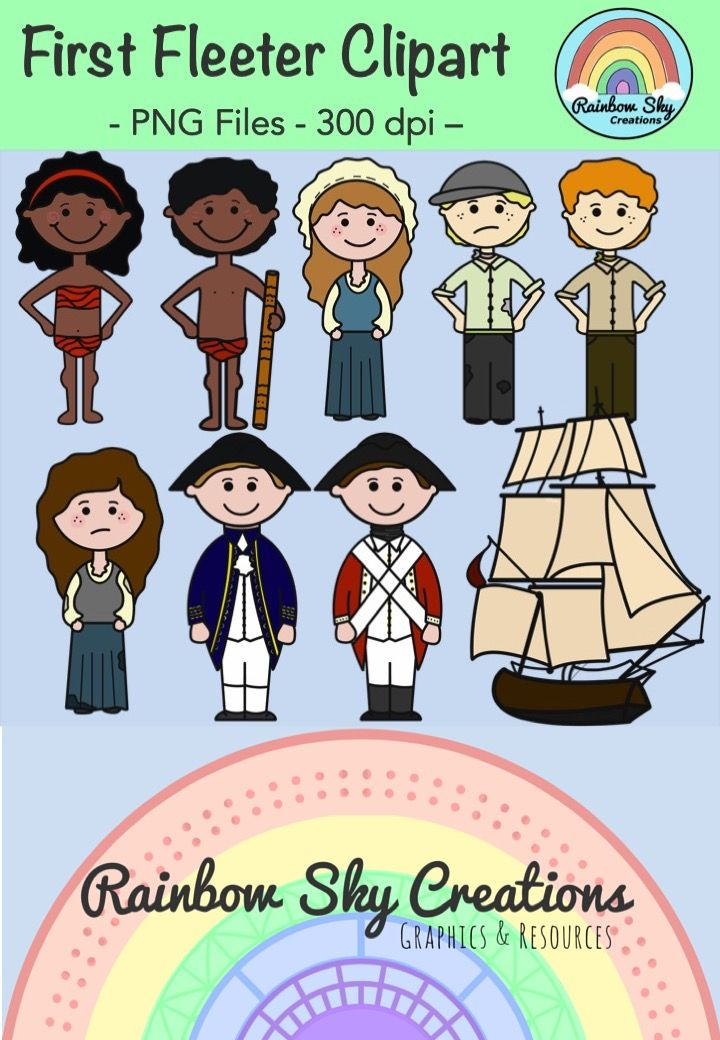 Check out this First Fleeter Clipart pack, which includes 18 graphics to support the First Contact – Stage 2 aspect of the Australian Curriculum. 18 pages for $2.50! http://designedbyteachers.com.au/marketplace/first-fleeter-clipart/