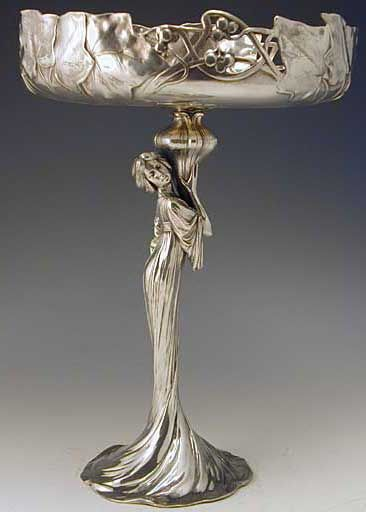 Polished pewter tazza with art nouveau full figural maiden. Ca. 1906 | JV
