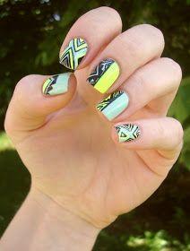 """Coco's nails: Vert amande & néon pour un nail art """"tribal"""""""