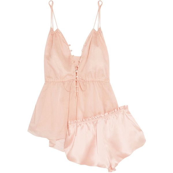 Three Graces London Adriana and Ariel cotton-mousseline and silk-satin... ($380) ❤ liked on Polyvore featuring intimates, sleepwear, pajamas, neutral, summer pjs, summer pajamas, cotton pjs, cotton pajamas and cotton pyjamas