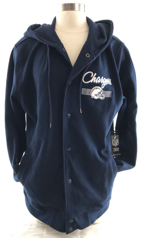 NFL Team Apparel Chargers knit jacket. Snap button front. San Diego Chargers helmet logo graphic screened at left chest with larger version screened on back. Slant welt hand pockets. Long sleeve. | eBay!
