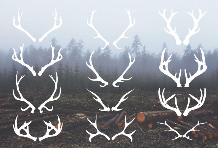 Deer Antlers - 12 Hand Drawn Vectors by cardcandy on Creative Market
