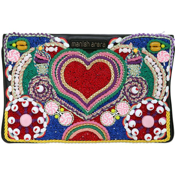 MANISH ARORA Heart Embroidered Faux Leather Clutch - Multi featuring polyvore, women's fashion, bags, handbags, clutches, clutches / wallets / purses, manish arora, multi, vegan leather handbags, embroidered handbags, heart purse, faux leather handbags and embellished handbags