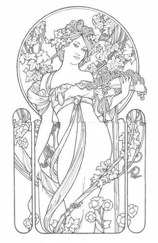 Coloring book Fairy land art nouveau designs Craft