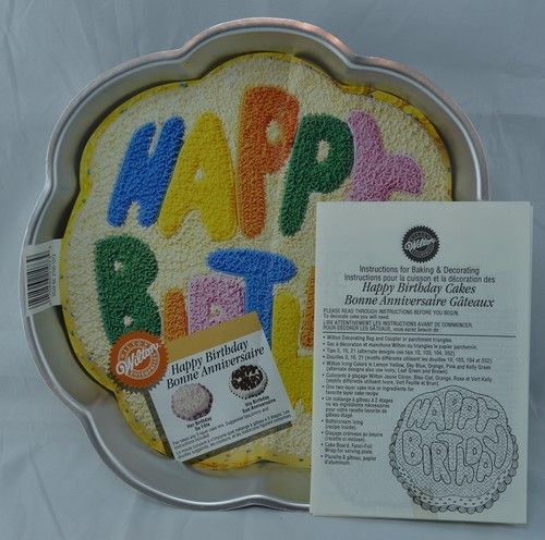 Wilton Cake Pan Style Happy Birthaday Item 2105 1073 Date 1980 Size 11 1 2 Wide 12 Tall 3 4 Deep