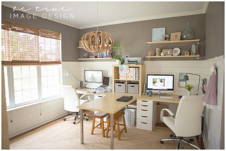 Hers & Hers work space....love the colors and the style of this office. Would only need one desk though.