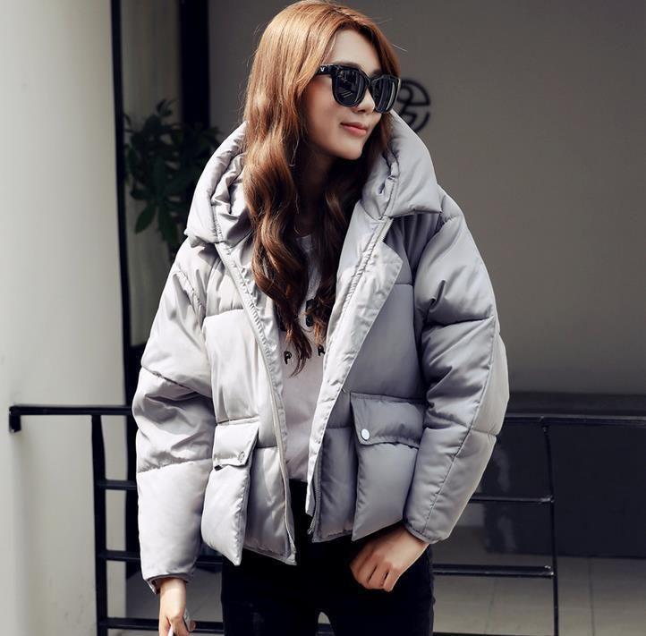 Slim Down Cotton Hooded Women Jacket+Gloves Bread Loose Short Coat