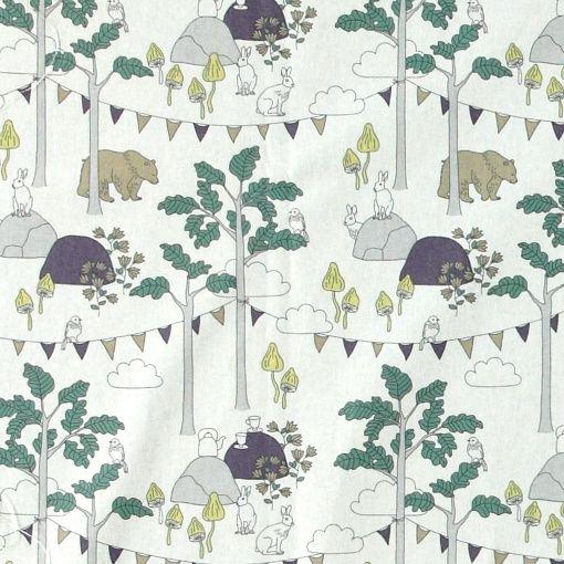 Bomull vit m abstrakt skog/djur