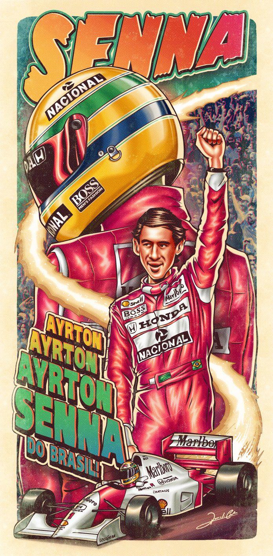 Ilustração do maior piloto de Formula 1 de todos os tempos, o mito Ayrton Senna. A arte retrataseus áureos tempos na McLaren e duas de suas marcas registradas: o capacete e o carro da escuderia br...