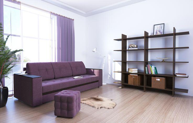 """Диван-кровать прямой АТЛАНТА, ткань Shaggy Lilac (сиреневый) Недорогой, красивый, стильный, компактный, вместительный диван с  деревянными подлокотниками и механизм «еврокнижка», прекрасное решение для гостиных комнат. Модель обладает высочайшим комфортом посадки и спального места при компактных размерах в разложенном варианте. В положении """"кровать"""", диван имеет заднюю планку, которая отделяет спальное место от стены. Накладка на подлокотнике выполнена из материала МДФ."""
