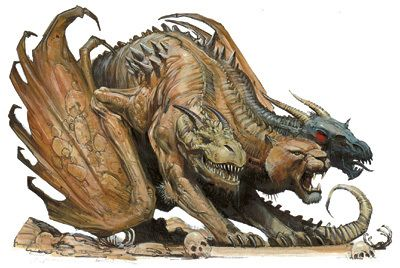 In Greek mythology, the Chimera (Greek Χίμαιρα (Chímaira); Latin Chimaera) was a monstrous creature of Lycia in Asia Minor, composed of the parts of multiple animals. The Chimera was one of the offspring of Typhon and Echidna and a sibling of such monsters as Cerberus and the Lernaean Hydra.