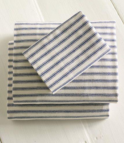 Ticking Stripe Flannel Sheets, LLBean