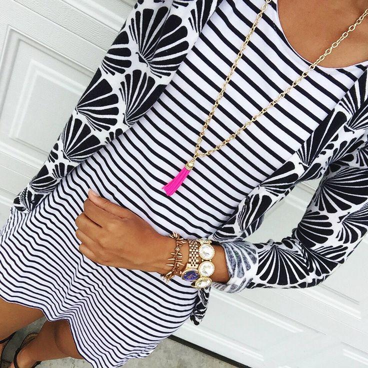striped tee shirt dress + shell print cardigan + purple peridot tassel necklace {pattern mixing}