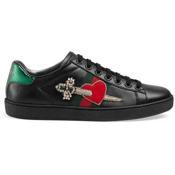 Gucci Ace Leather Embroidered Sneaker ($670) ❤ liked on Polyvore featuring shoes, sneakers, black, women, leather sneakers, leather trainers, black leather sneakers, embroidered sneakers and snake shoes