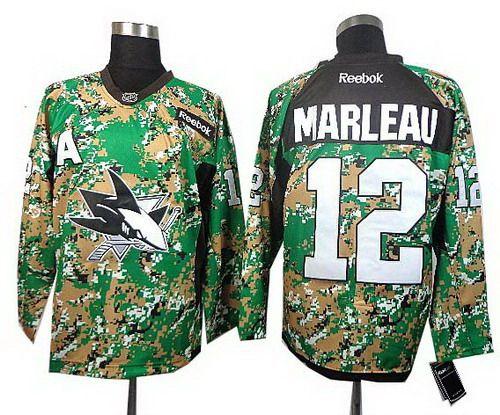 ... San Jose Sharks 12 Patrick Marle 2014 Camo Jersey Alternate Barclay  Goodrow Womens Reebok ... 0af631125