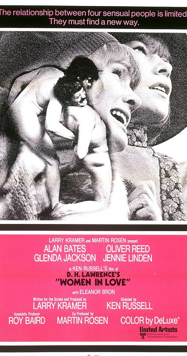 Directed by Ken Russell.  With Alan Bates, Oliver Reed, Glenda Jackson, Jennie Linden. The battle of the sexes and relationships among the elite of Britian's industrial Midlands in the 1920s. Gerald Crich and Rupert Berkin are best friends who fall in love with a pair of sisters Gudrun, a sculptress and Ursula Brangwen, a schoolteacher. Rupert marries Ursula, Gerald begins a love affair with Gudrun, and the foursome embarks upon a Swiss honeymoon. But the relationships take ...