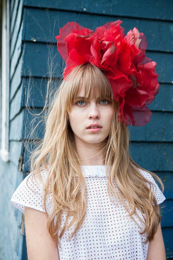 Red Floral Fascinator Headband Hair Accessory/Bridal by ekammeyer, $359.00