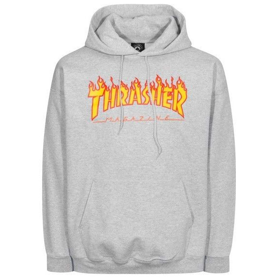 Men 159067: Thrasher Skateboard Mag Flame Logo Hoodie Pullover Sweatshirt (Grey) Small -> BUY IT NOW ONLY: $64.99 on eBay!