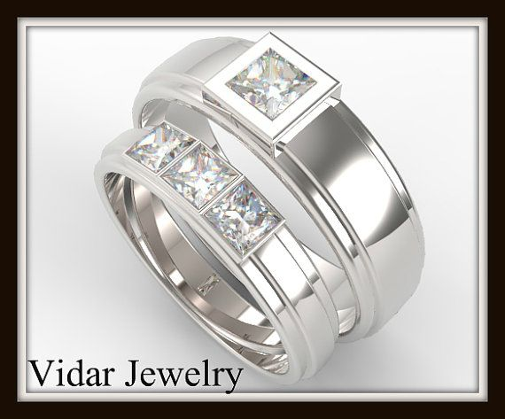 His And Her Princess Cut Diamond Wedding Band by Vidarjewelry, $3300.00