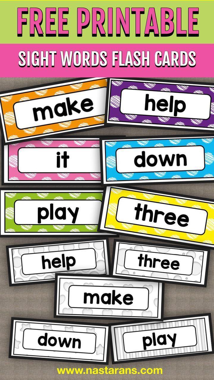 Free printable sight words flash cards preprimer