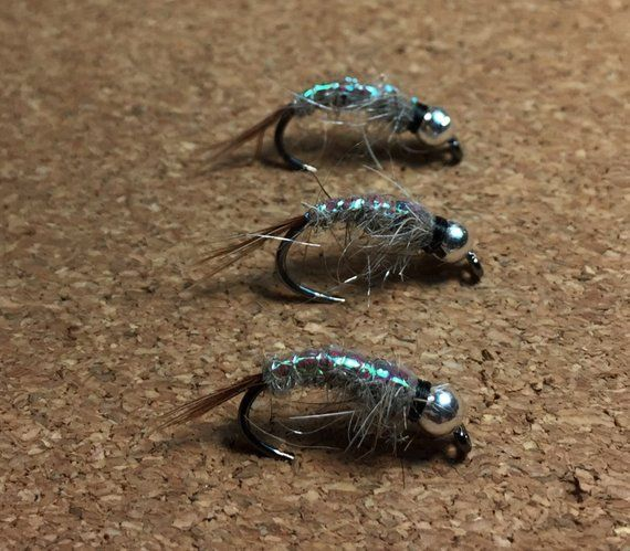 3 Tungsten Beaded Yellow Flash Black Hares Ear Nymphs