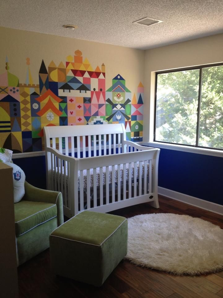 """its a small world"" Disney baby nursery with a Hidden Mickey"