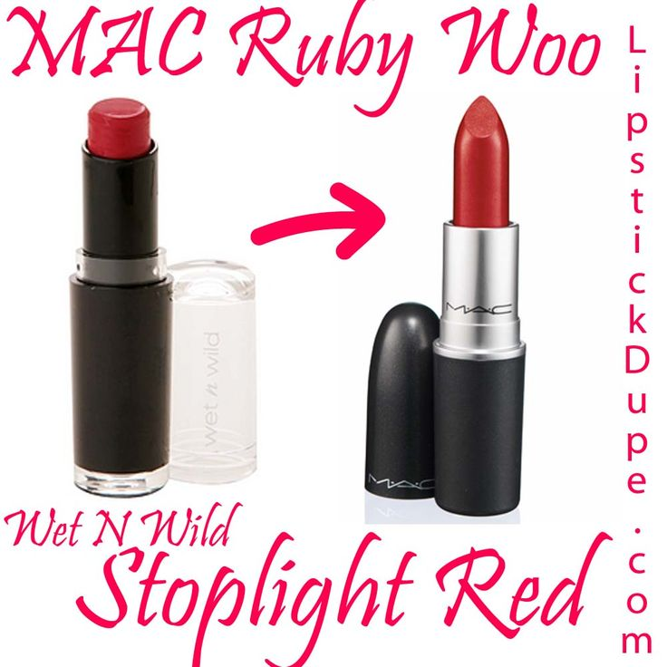 MAC Ruby Woo dupe Wet N Wild Mega Matte Lipstick in Stoplight Red, plus 3 more dupes! #dupe #lipstickdupe #macdupe #wetnwild www.lipstickdupe.com