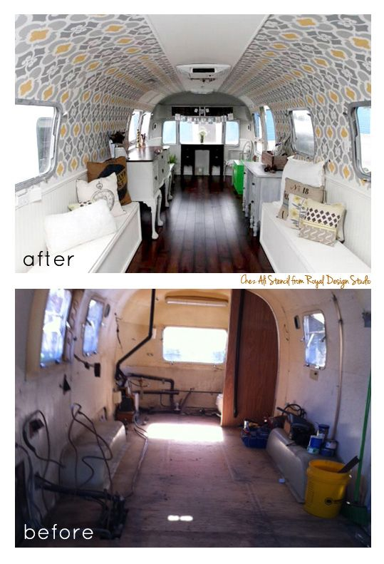 Now for something completely different! An Airstream Trailer Renovation using a Moroccan wall stencil! It's used as a traveling painted furniture showroom-fun! http://www.royaldesignstudio.com/