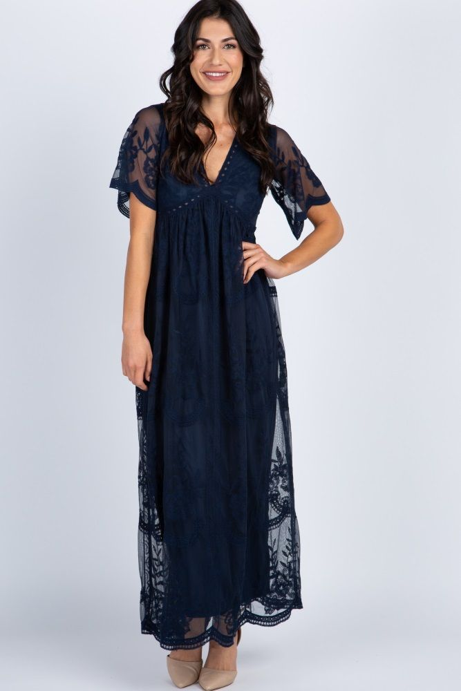 4a56803dc07e4 Navy Blue Lace Mesh Overlay Maxi Dress | CLOTHING in 2019 | Blue ...