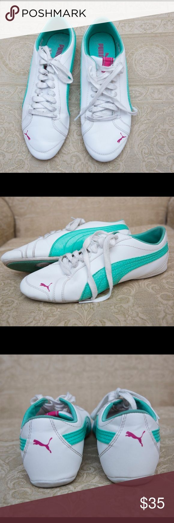 White/teal/pink Pumas in excellent condition Comfortable and stylish athletic shoes. Fit true to size. Puma Shoes Sneakers