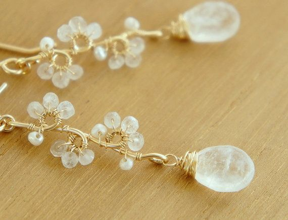 Moonstone Necklace White Flower Vine Necklace Pearl by Yukojewelry