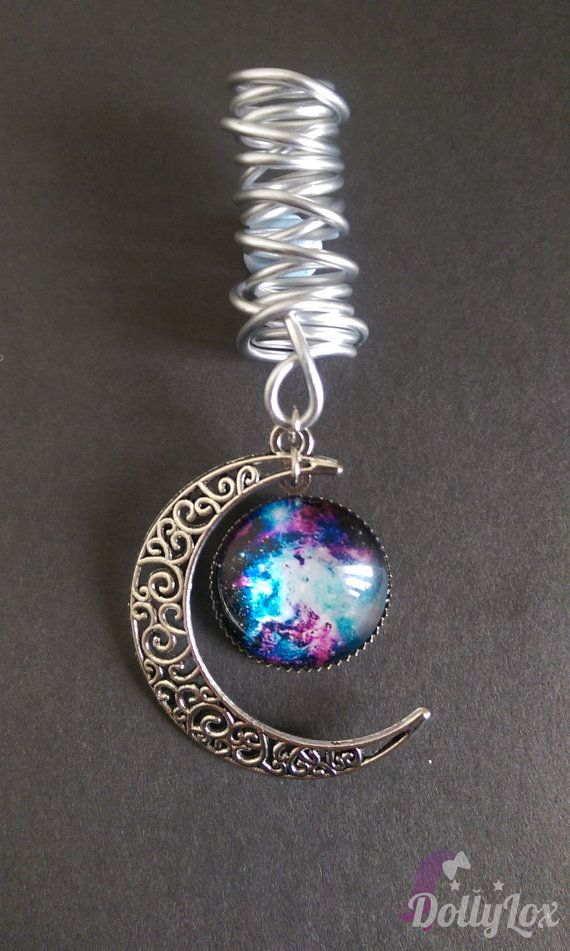 Blue purple white galaxy and crescent moon dreadlock by DollyLox