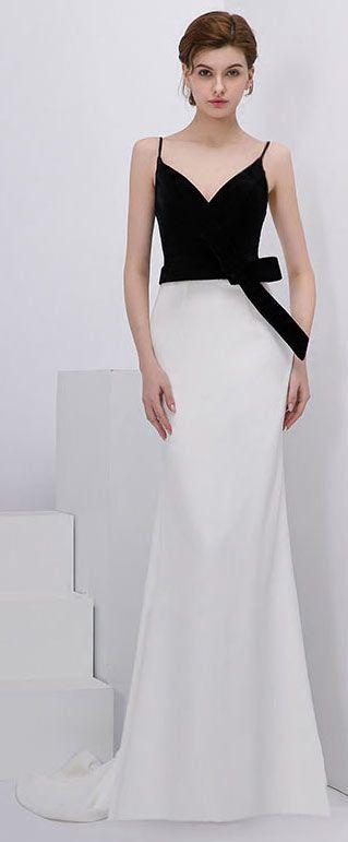 3500c252fef Chic robe de soirée longue bicolore à col v avec nœud décoratif à la taille