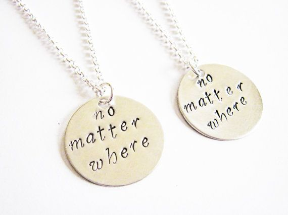 sisters necklace long distance, handstamped necklace personalized jewelry, gift for best friends best friend jewelry friendship bff necklace by RobertaValle on Etsy