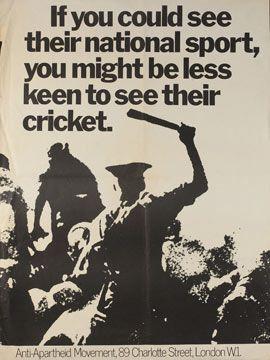 Anti-Apartheid poster. #cricket