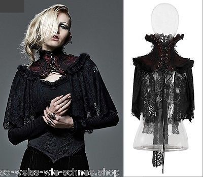 Punk Rave Gothic Vampire Cape Umhang Barock Kragen Rot Victorian Choker WGT Y586