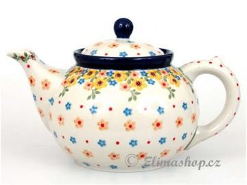 Spring pattern TEAPOT 1,2 l . This Handmade Polish Pottery pot is from ELIMAshop.cz . Boleslawiec . Bunzlau . ceramics . stoneware . spring design ( čajník 1,2 l . jaro )