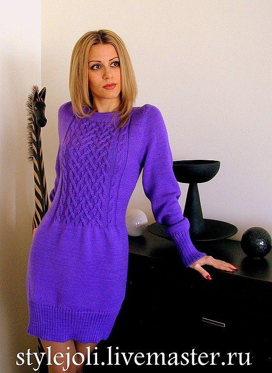 Купить Рез!Финское платье - фиолетовый, платье, платье вязаное, платье с длинным рукавом