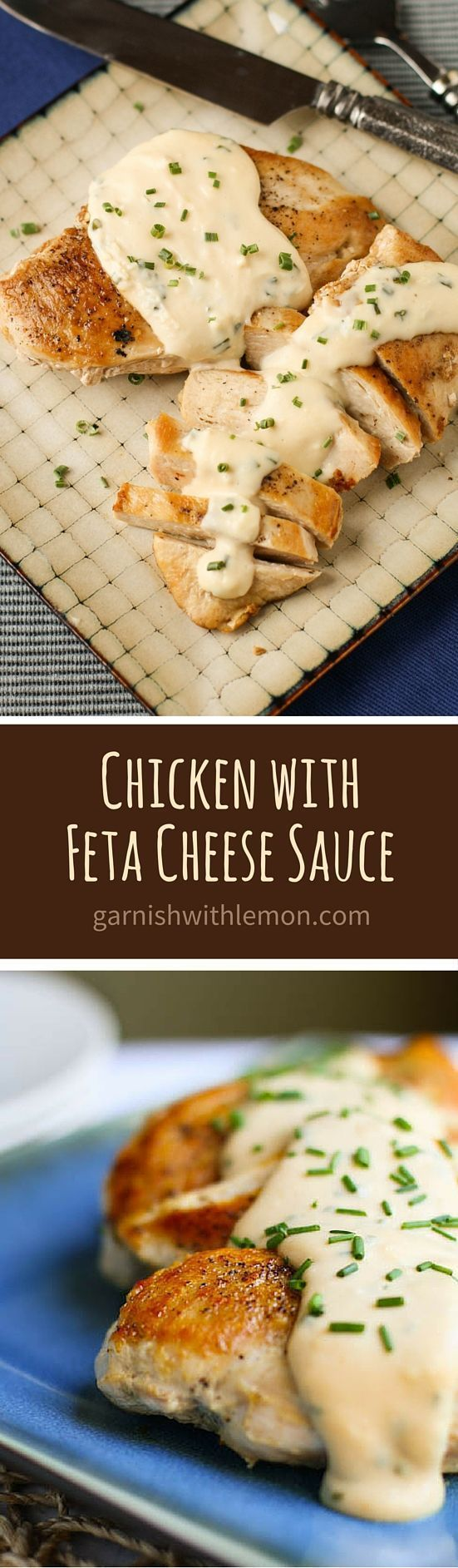 Don't miss our family's favorite easy dinner recipe - Chicken with Feta Cheese Sauce! Add on top of pasta! Not so healthy but looks delicious!: http://www.garnishwithlemon.com/chicken-with-feta-cheese-sauce/