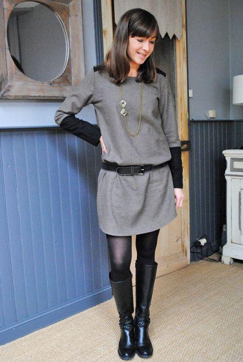 Robe bicolore drap de laine Une souris dans mon dressing