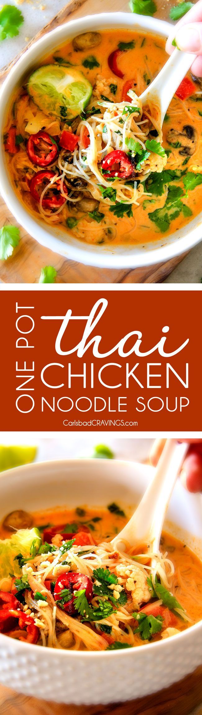 ONE POT Thai Chicken Noodle Soup - this is one of my favorite soups I have ever tasted let alone made! Its way better than takeout with layers of warm, comforting aromatic flavors and I love all the veggies! I had never cooked with rice noodles and the te