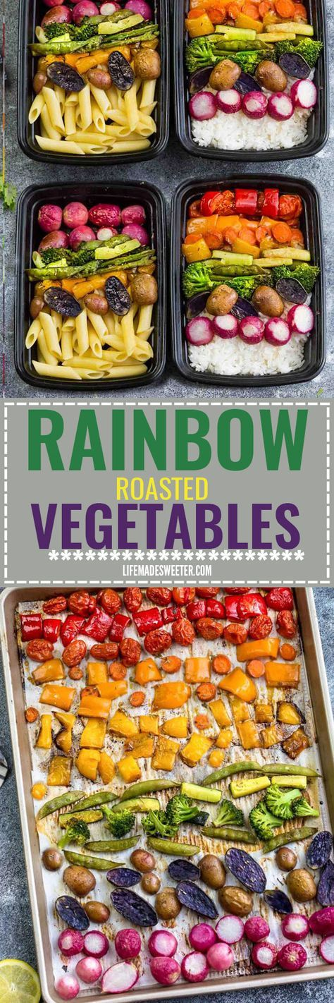 Rainbow Roasted Vegetables makes the perfect easy side dish in a fun presentation for kids and adults. Best of all, this recipe is so easy to customize using any vegetables you like. Great for Sunday meal prep and leftovers are perfect for work or school