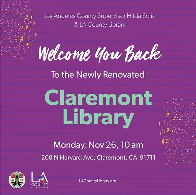 Were Excited To Welcome You Back To Claremont Library Join Us For The Re Opening On Monday Nov 26 At 10 Am Well Have A Day F County Library Library Claremont
