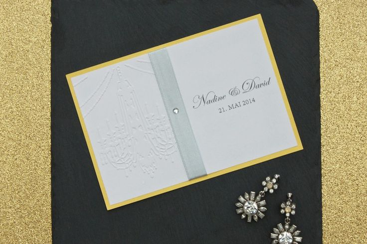 Elegant Save the Date card with a stunning chandelier embossing   lucyvanbarnes.de