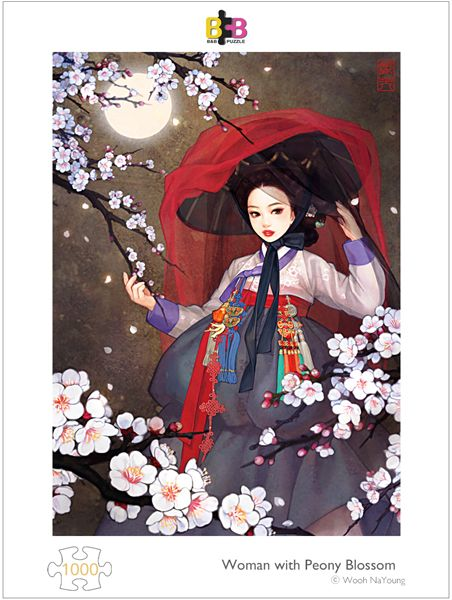 Woman with peony blossom 1000pcs by Wooh NaYoung #bnbpuzzle #puzzlelife #jigsaw #puzzle #alice #wonderland #korean #korea #traditional #WoohNaYoung