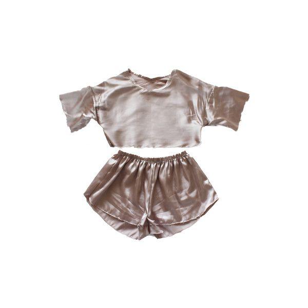 Satin Pyjama Set ($55) ❤ liked on Polyvore featuring intimates, sleepwear, pajamas, tops, sets, dresses, satin pajama sets, satin pyjamas, satin pajamas and satin sleepwear