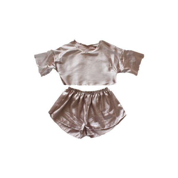 Satin Pyjama Set (€49) ❤ liked on Polyvore featuring intimates, sleepwear, pajamas, tops, sets, shorts, satin pajamas, satin pjs, satin sleepwear and satin pyjamas