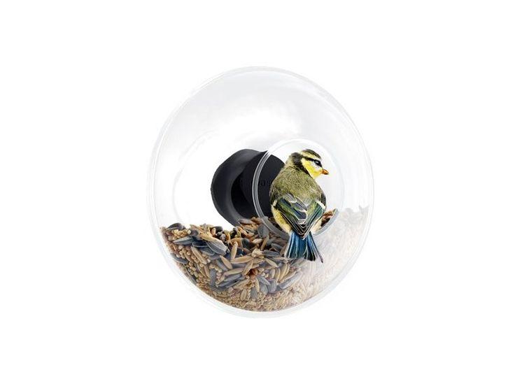 Skleněné krmítko lze připevnit na vnější stranu okenní tabule. Má otvor, který usnadňuje drobným ptáčkům usadit se na okraji krmítka a zobat zrní.