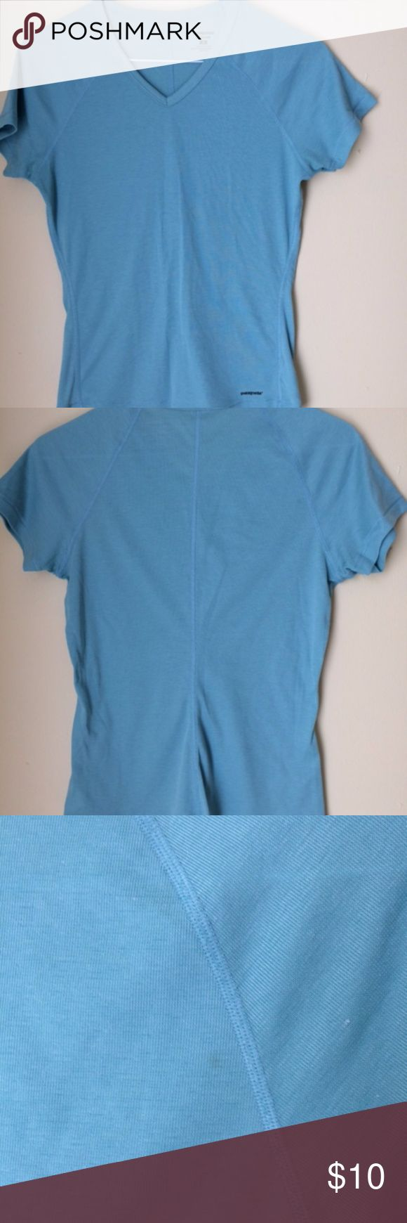 Patagonia Women's S Capilene Shirt Base Layer Light green Patagonia women's short sleeve lightweight capilene base layer top. V-neck style. In good used condition with some small marks. Please see pictures. Color is truest in last two pictures. Patagonia Tops Tees - Short Sleeve