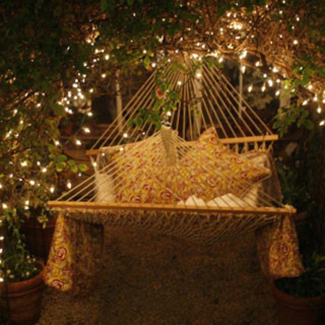 So romantic and peacefulTwinkle Lights, Under The Stars, Dreams, Hammocks, Fairies Lights, Back Yards, Summer Nights, Fairy Lights, Backyards